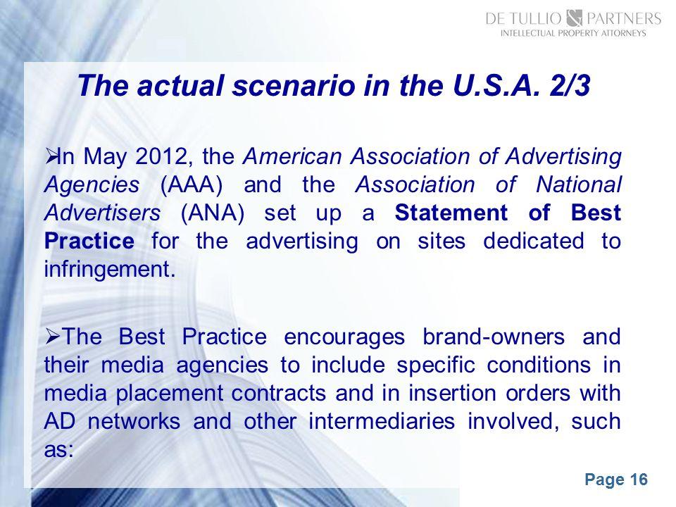 Page 16 The actual scenario in the U.S.A.
