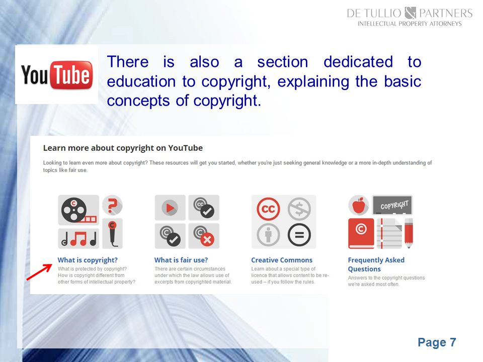 Page 7 There is also a section dedicated to education to copyright, explaining the basic concepts of copyright.