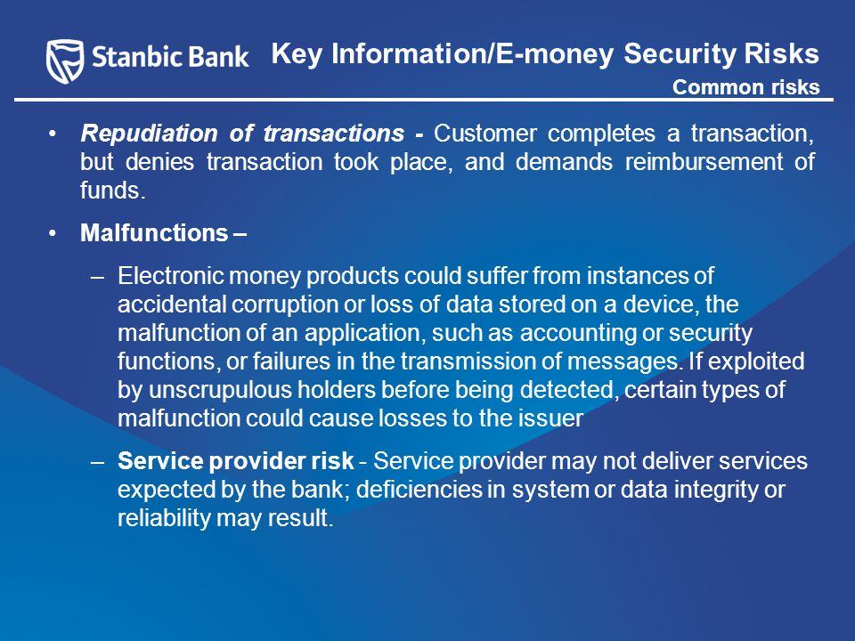 Repudiation of transactions - Customer completes a transaction, but denies transaction took place, and demands reimbursement of funds.