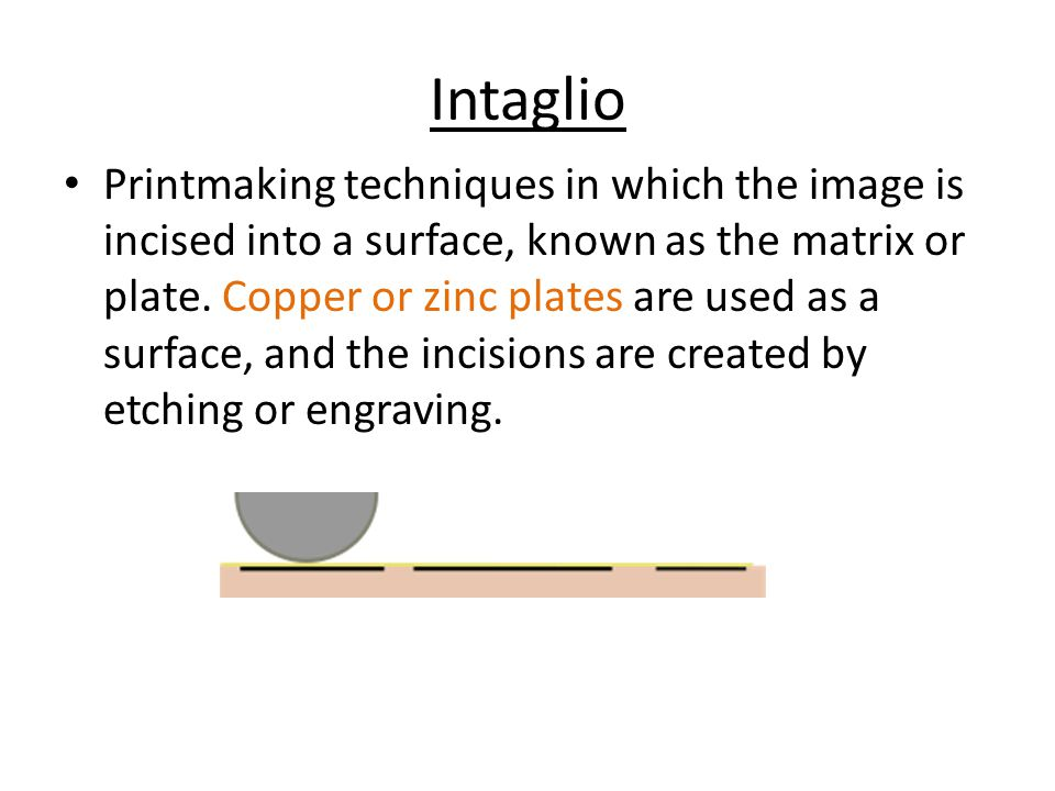 Intaglio Printmaking techniques in which the image is incised into a surface, known as the matrix or plate.