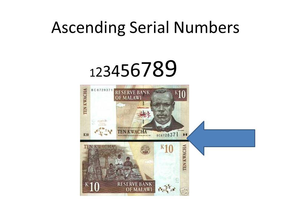 Ascending Serial Numbers 1 2 3 4 5 6 7 8 9