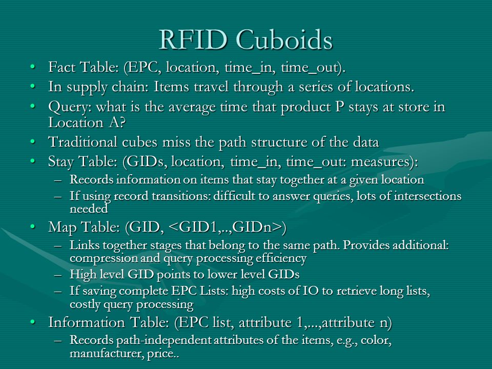 RFID Cuboids Fact Table: (EPC, location, time_in, time_out).Fact Table: (EPC, location, time_in, time_out).