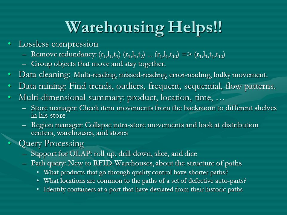 Warehousing Helps!.