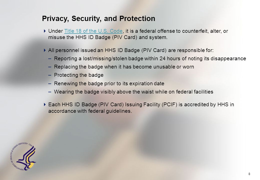 8 Privacy, Security, and Protection  Under Title 18 of the U.S.