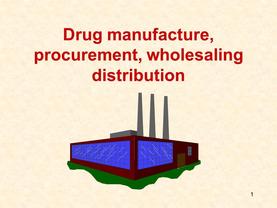 1 1 Drug manufacture, procurement, wholesaling distribution