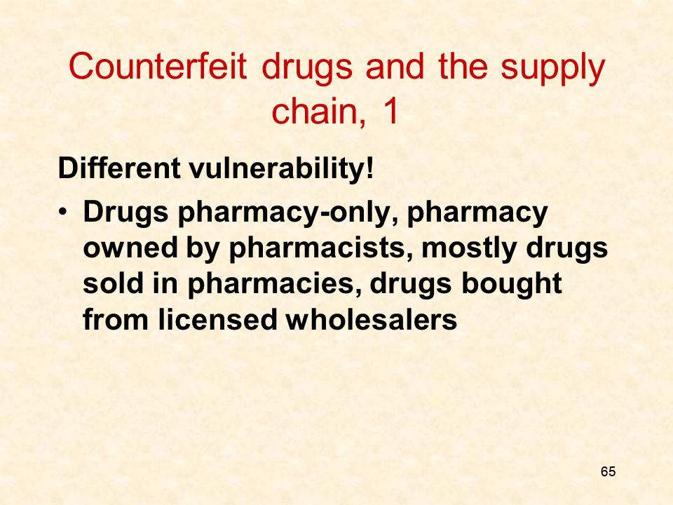 65 Counterfeit drugs and the supply chain, 1 Different vulnerability.
