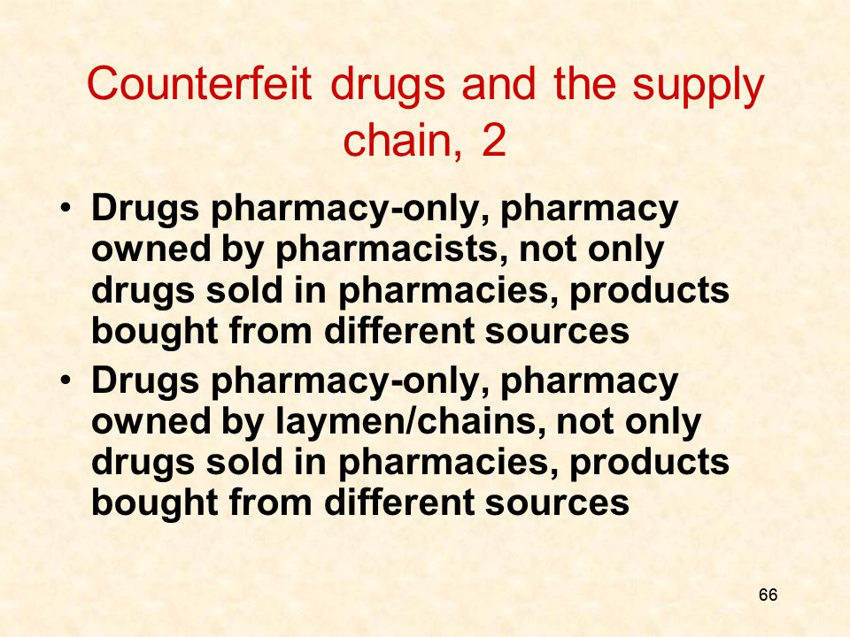 66 Counterfeit drugs and the supply chain, 2 Drugs pharmacy-only, pharmacy owned by pharmacists, not only drugs sold in pharmacies, products bought from different sources Drugs pharmacy-only, pharmacy owned by laymen/chains, not only drugs sold in pharmacies, products bought from different sources
