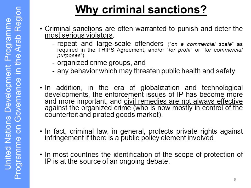 "Why criminal sanctions? Criminal sanctions are often warranted to punish and deter the most serious violators: -repeat and large-scale offenders (""on"