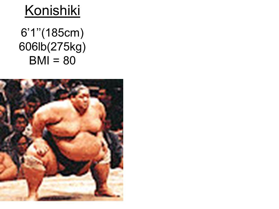 Konishiki 6'1''(185cm) 606lb(275kg) BMI = 80