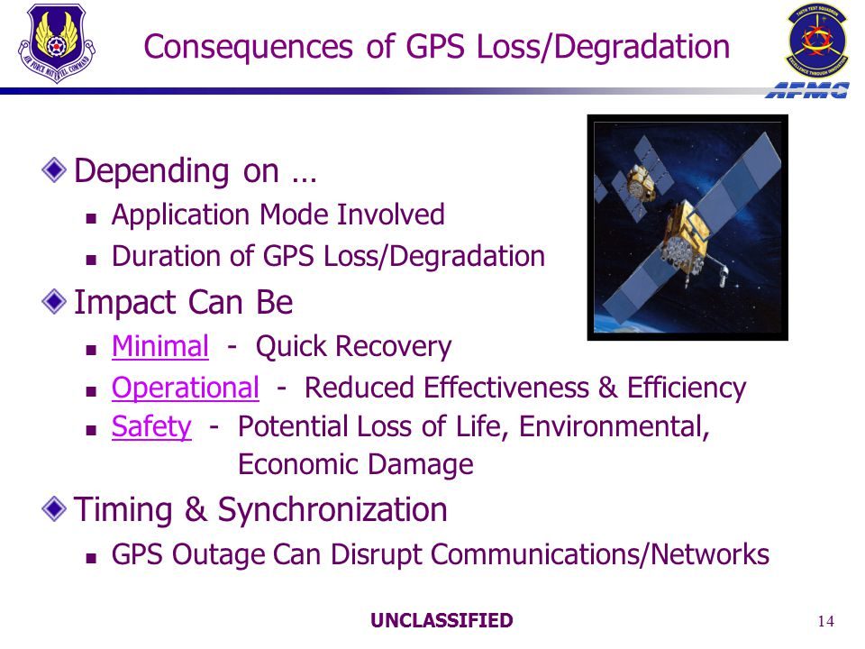 UNCLASSIFIED 14 Consequences of GPS Loss/Degradation Depending on … Application Mode Involved Duration of GPS Loss/Degradation Impact Can Be Minimal - Quick Recovery Operational - Reduced Effectiveness & Efficiency Safety - Potential Loss of Life, Environmental, Economic Damage Timing & Synchronization GPS Outage Can Disrupt Communications/Networks