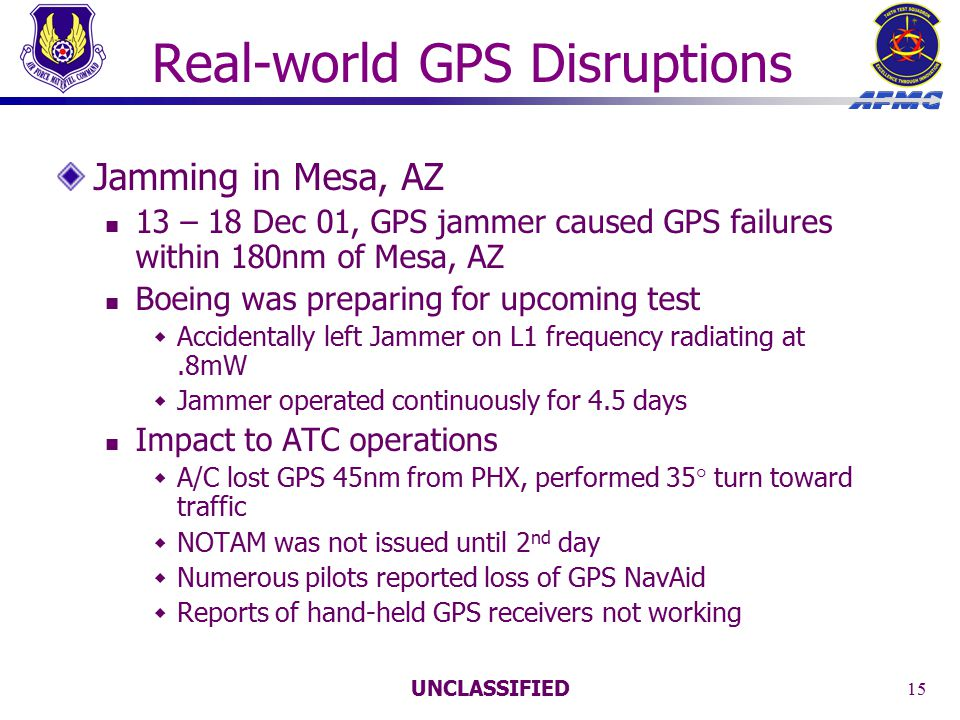 UNCLASSIFIED 15 Real-world GPS Disruptions Jamming in Mesa, AZ 13 – 18 Dec 01, GPS jammer caused GPS failures within 180nm of Mesa, AZ Boeing was preparing for upcoming test  Accidentally left Jammer on L1 frequency radiating at.8mW  Jammer operated continuously for 4.5 days Impact to ATC operations  A/C lost GPS 45nm from PHX, performed 35° turn toward traffic  NOTAM was not issued until 2 nd day  Numerous pilots reported loss of GPS NavAid  Reports of hand-held GPS receivers not working