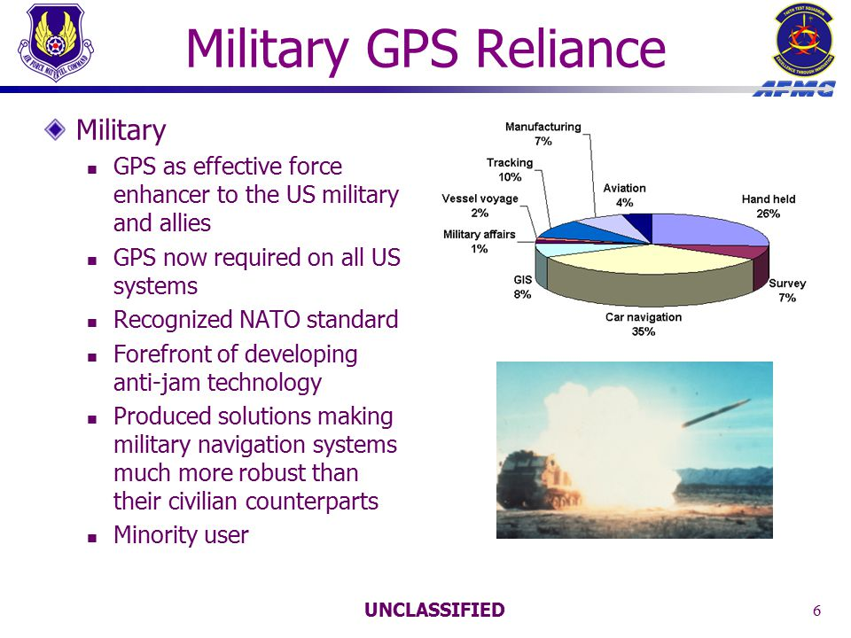 UNCLASSIFIED 6 Military GPS Reliance Military GPS as effective force enhancer to the US military and allies GPS now required on all US systems Recognized NATO standard Forefront of developing anti-jam technology Produced solutions making military navigation systems much more robust than their civilian counterparts Minority user