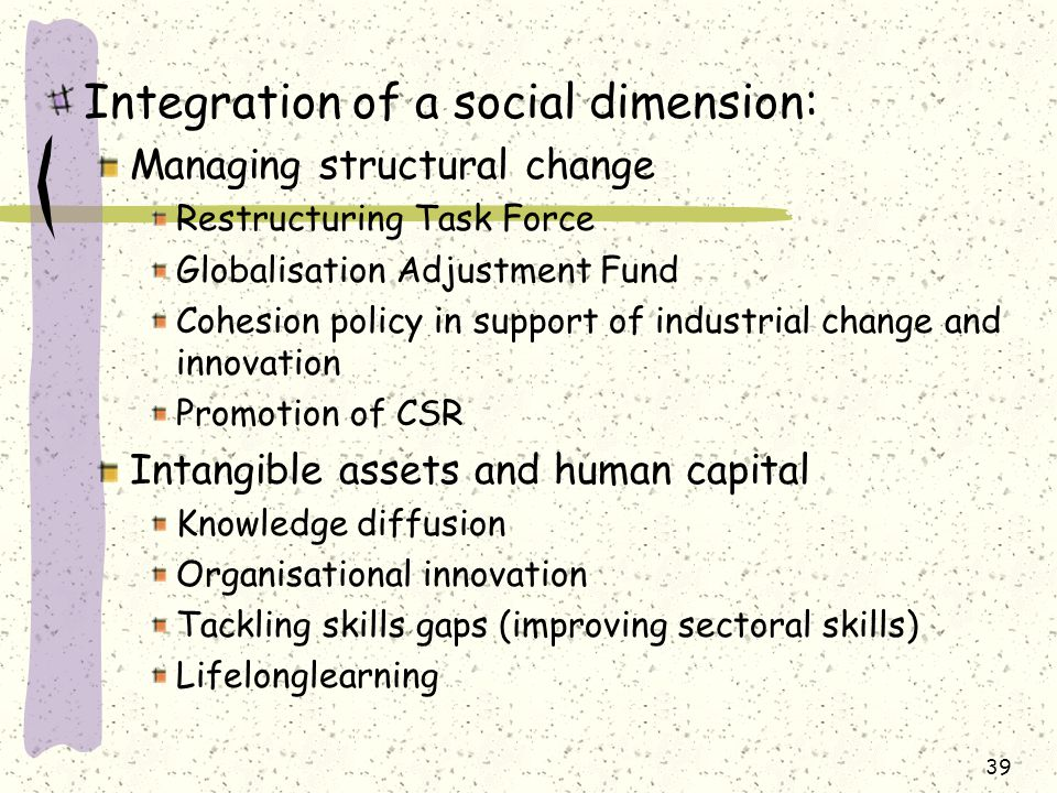 Integration of a social dimension: Managing structural change Restructuring Task Force Globalisation Adjustment Fund Cohesion policy in support of industrial change and innovation Promotion of CSR Intangible assets and human capital Knowledge diffusion Organisational innovation Tackling skills gaps (improving sectoral skills) Lifelonglearning 39
