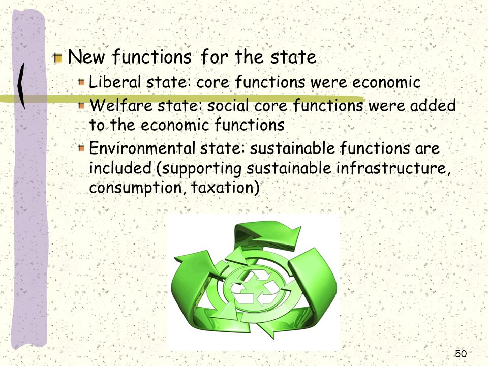New functions for the state Liberal state: core functions were economic Welfare state: social core functions were added to the economic functions Environmental state: sustainable functions are included (supporting sustainable infrastructure, consumption, taxation) 50