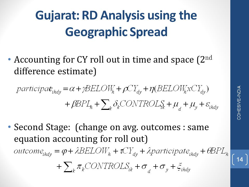 Gujarat: RD Analysis using the Geographic Spread Accounting for CY roll out in time and space (2 nd difference estimate) Second Stage: (change on avg.