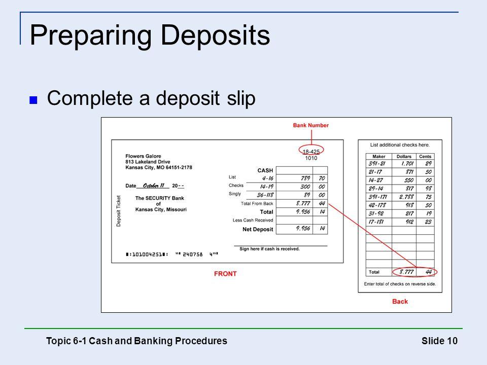 Slide 10 Preparing Deposits Topic 6-1 Cash and Banking Procedures Complete a deposit slip