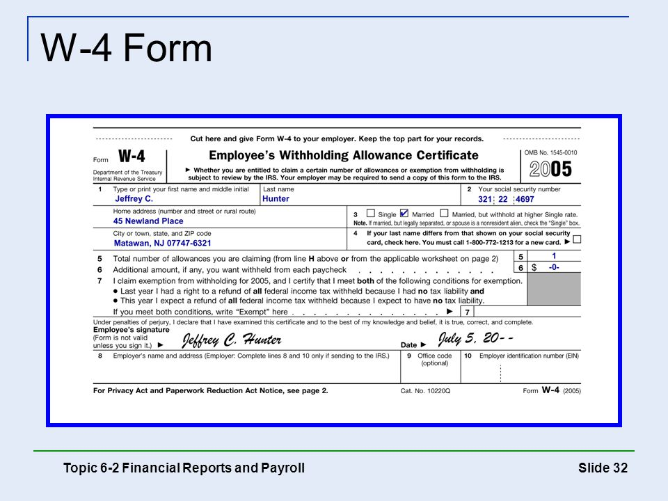 Slide 32 W-4 Form Topic 6-2 Financial Reports and Payroll