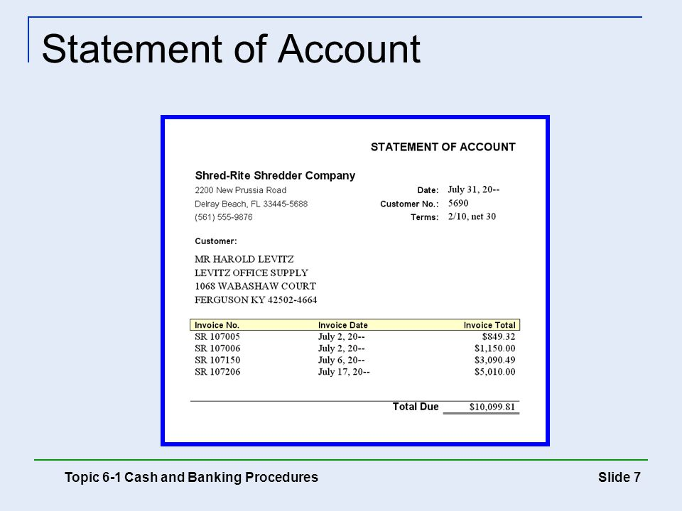 Slide 7 Statement of Account Topic 6-1 Cash and Banking Procedures