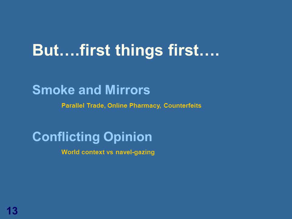 13 But….first things first…. Smoke and Mirrors Parallel Trade, Online Pharmacy, Counterfeits Conflicting Opinion World context vs navel-gazing