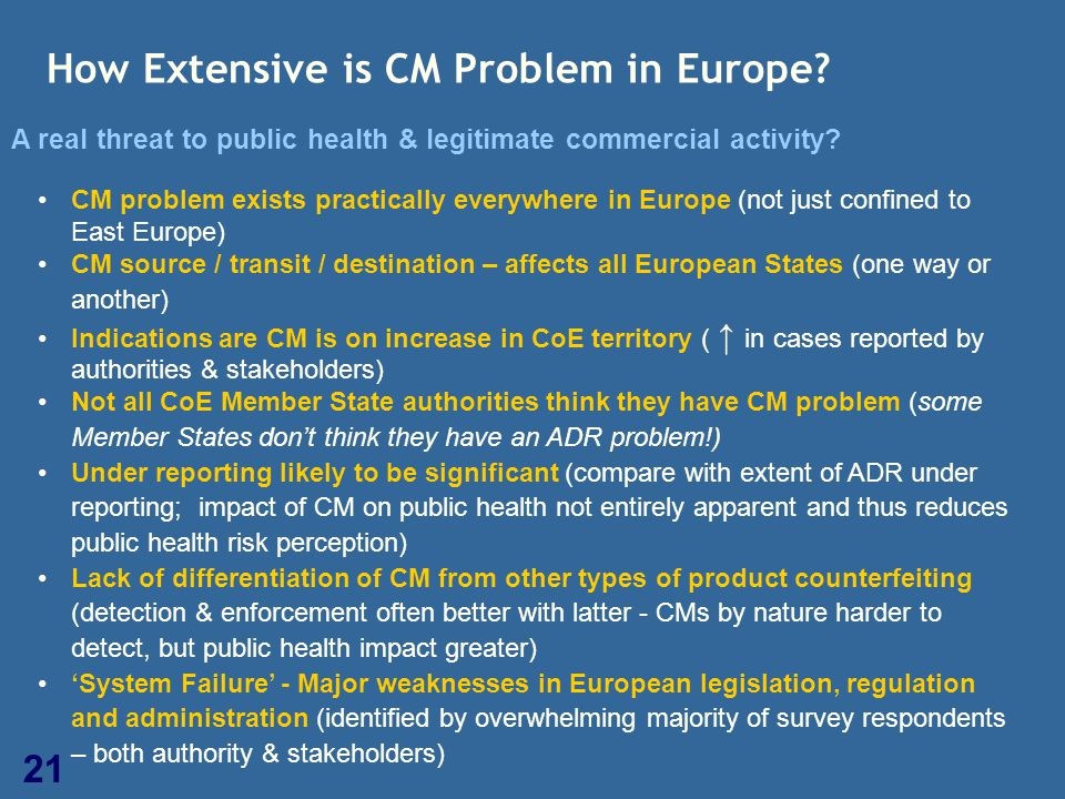 21 How Extensive is CM Problem in Europe? A real threat to public health & legitimate commercial activity? CM problem exists practically everywhere in