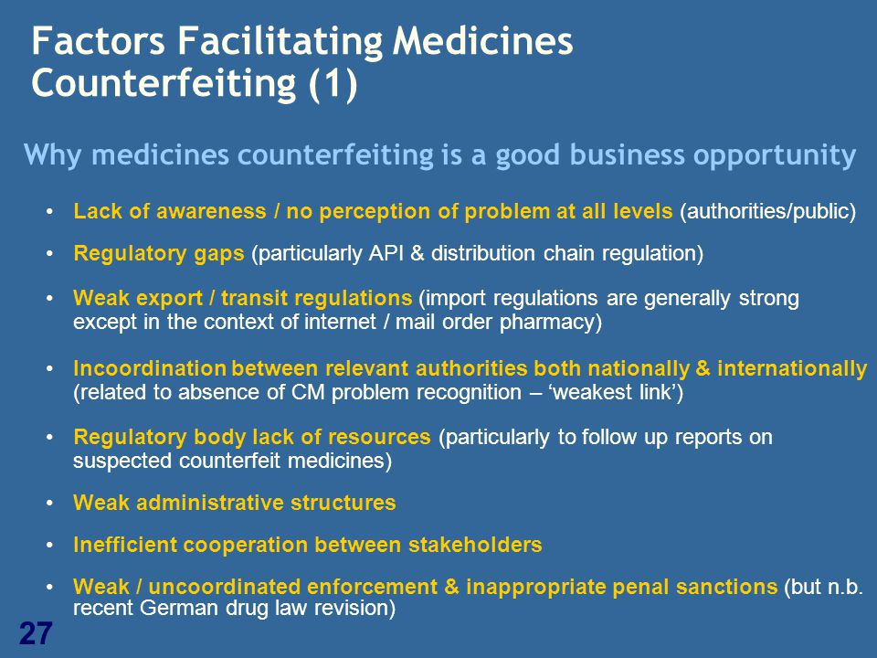 27 Factors Facilitating Medicines Counterfeiting (1) Why medicines counterfeiting is a good business opportunity Lack of awareness / no perception of