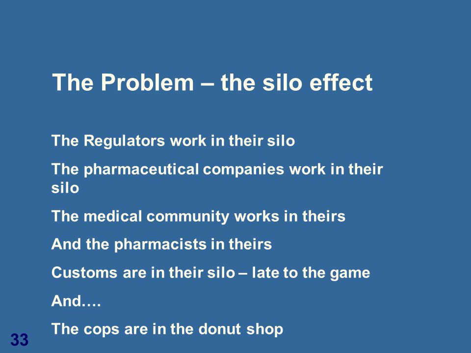 33 The Problem – the silo effect The Regulators work in their silo The pharmaceutical companies work in their silo The medical community works in thei