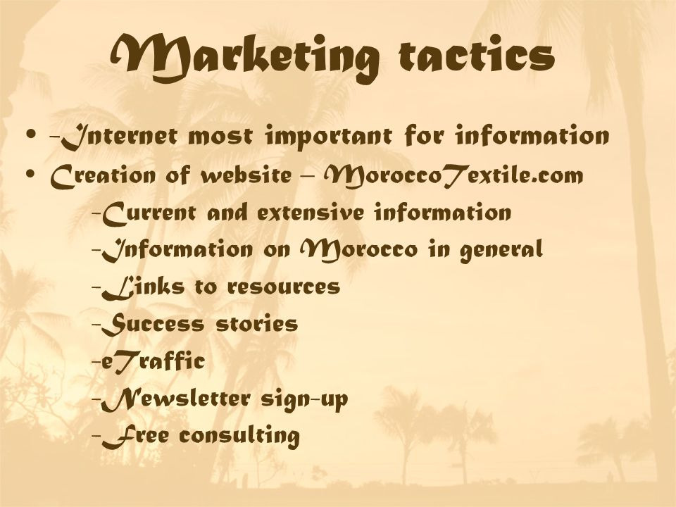 Marketing tactics -Internet most important for information Creation of website – MoroccoTextile.com -Current and extensive information -Information on Morocco in general -Links to resources -Success stories -eTraffic -Newsletter sign-up -Free consulting