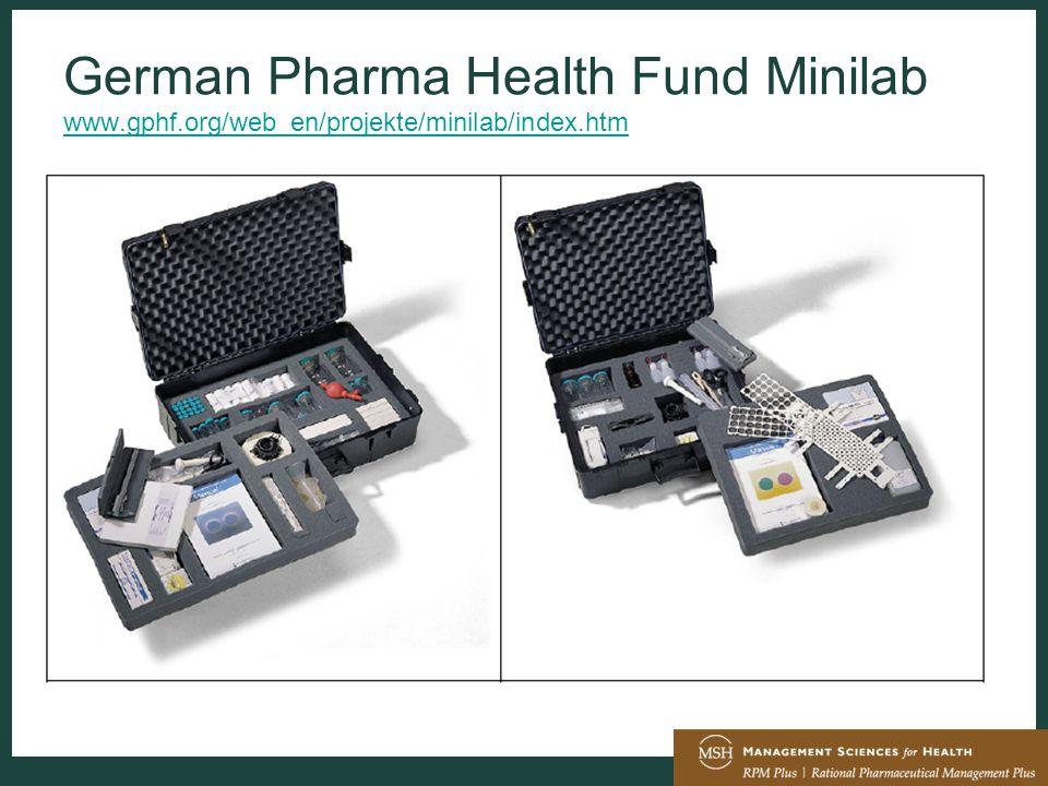 German Pharma Health Fund Minilab www.gphf.org/web_en/projekte/minilab/index.htm www.gphf.org/web_en/projekte/minilab/index.htm