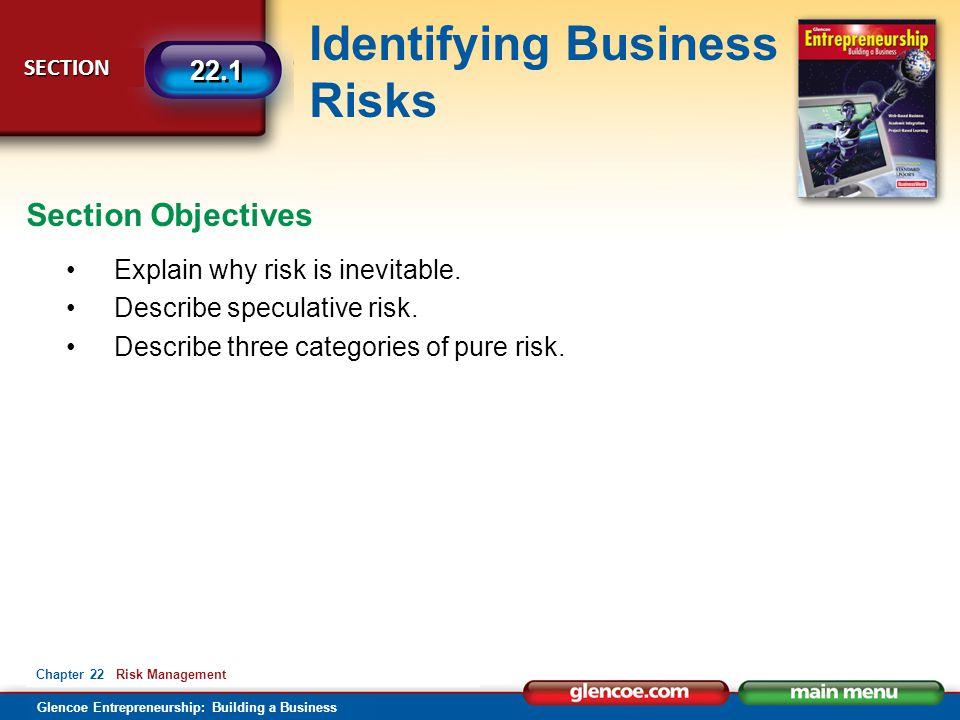 Glencoe Entrepreneurship: Building a Business Identifying Business Risks SECTION SECTION 22.1 Chapter 22 Risk Management Explain why risk is inevitable.