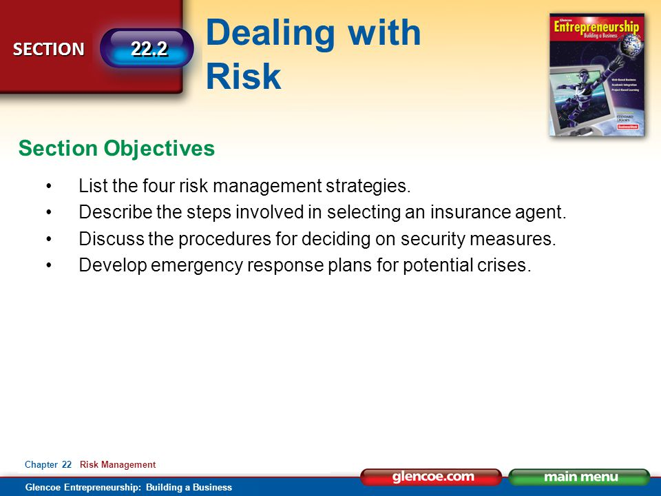 Dealing with Risk Glencoe Entrepreneurship: Building a Business SECTION 22.2 Chapter 22 Risk Management List the four risk management strategies.