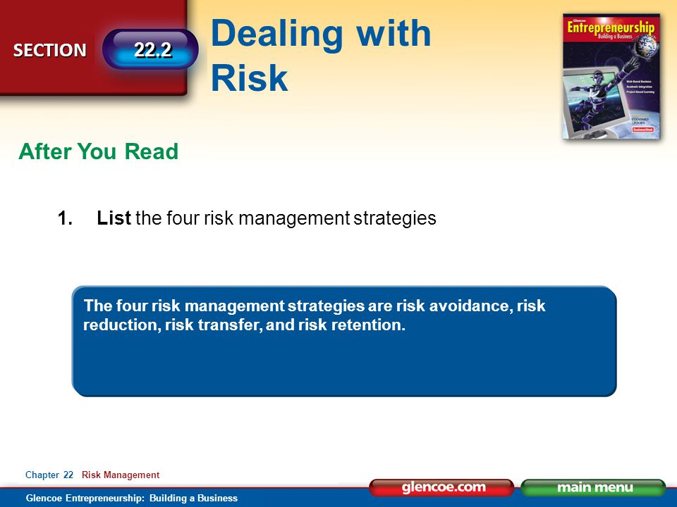 Dealing with Risk Glencoe Entrepreneurship: Building a Business SECTION 22.2 Chapter 22 Risk Management After You Read 1.List the four risk management