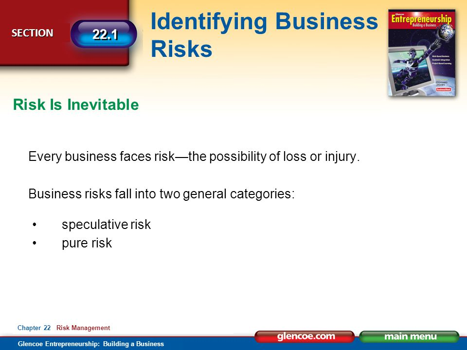 Glencoe Entrepreneurship: Building a Business Identifying Business Risks SECTION SECTION 22.1 Chapter 22 Risk Management Every business faces risk—the