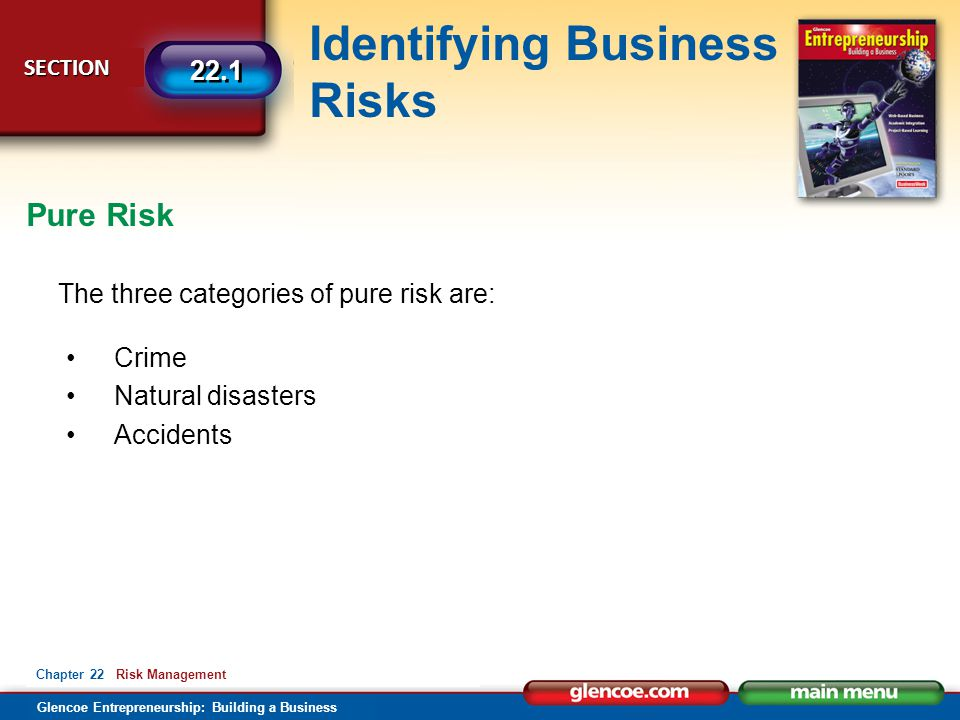Glencoe Entrepreneurship: Building a Business Identifying Business Risks SECTION SECTION 22.1 Chapter 22 Risk Management The three categories of pure