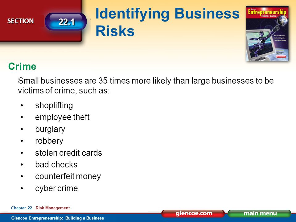 Glencoe Entrepreneurship: Building a Business Identifying Business Risks SECTION SECTION 22.1 Chapter 22 Risk Management Small businesses are 35 times