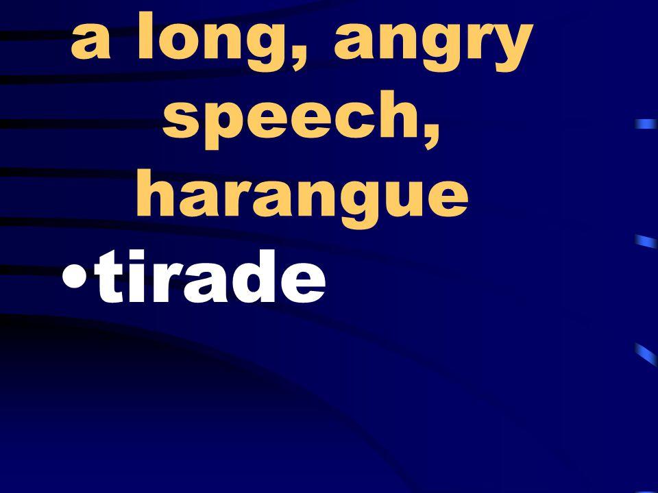 a long, angry speech, harangue tirade