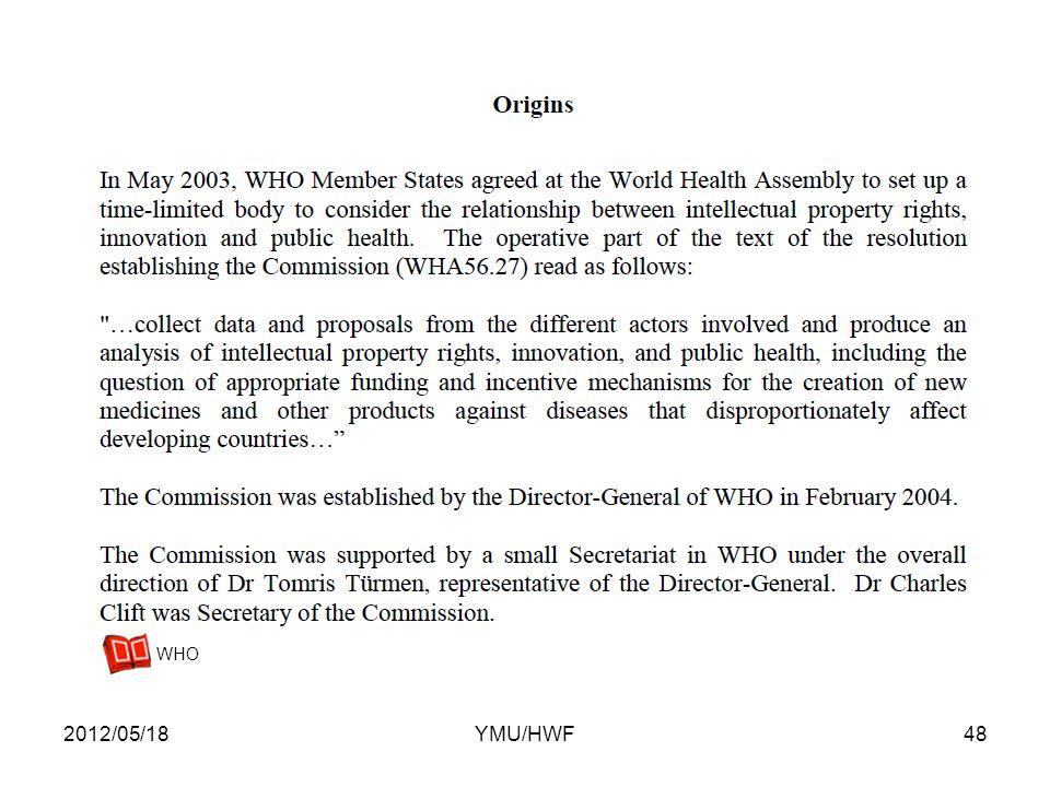 2012/05/1848YMU/HWF WHO