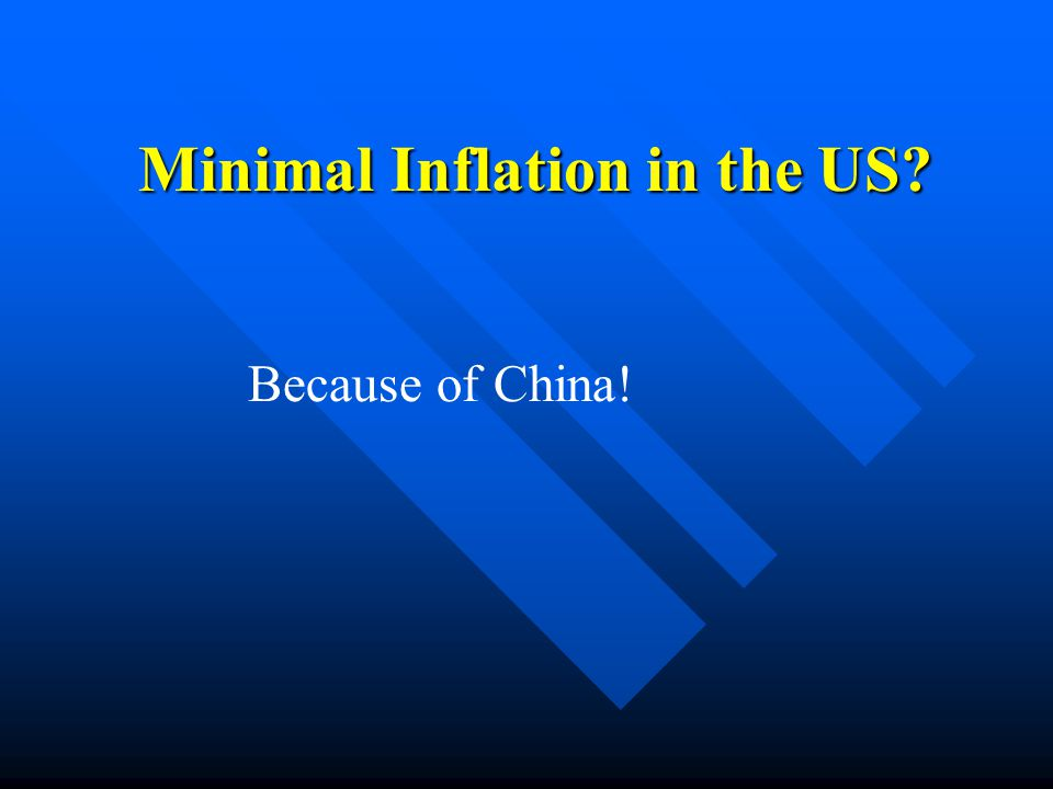 Minimal Inflation in the US Because of China!