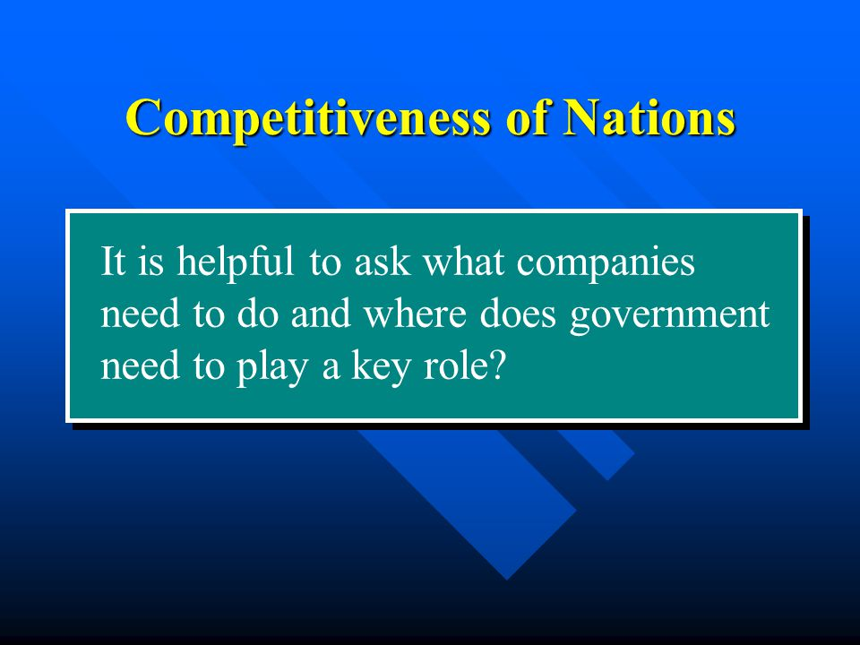 It is helpful to ask what companies need to do and where does government need to play a key role.