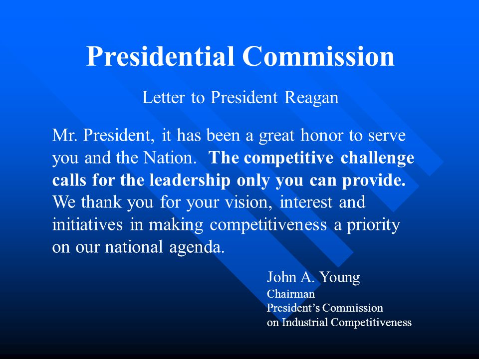 Presidential Commission Letter to President Reagan Mr.