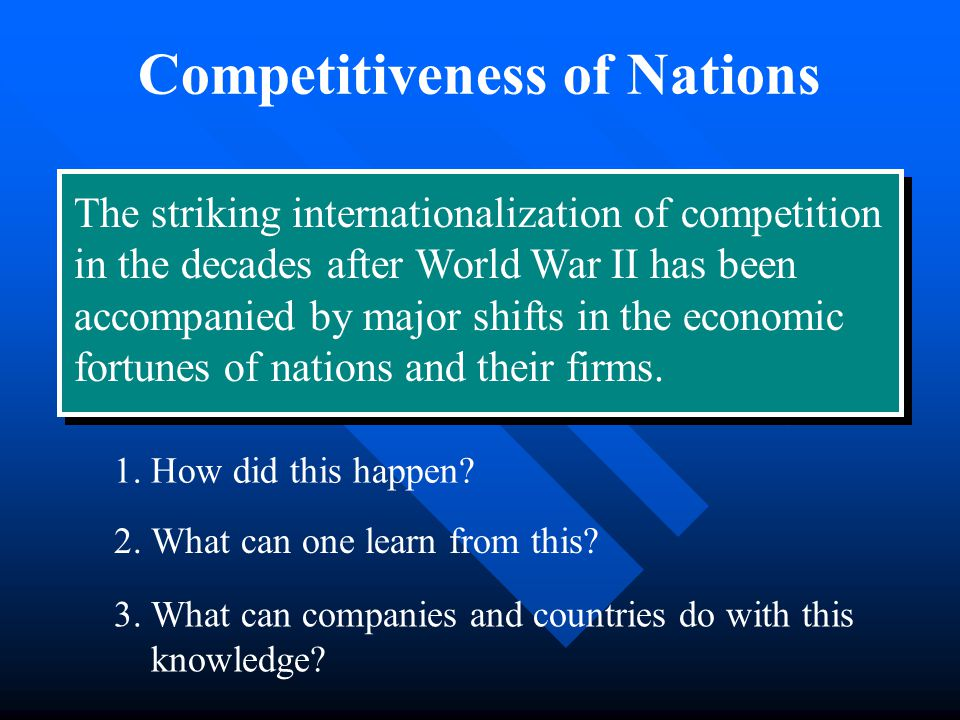 Competitiveness of Nations The striking internationalization of competition in the decades after World War II has been accompanied by major shifts in the economic fortunes of nations and their firms.