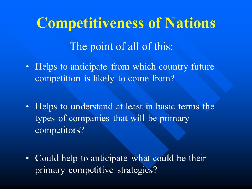 Competitiveness of Nations Helps to anticipate from which country future competition is likely to come from.