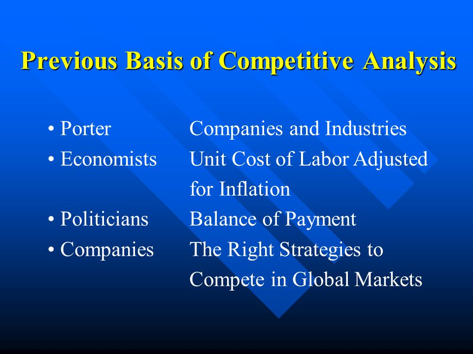 PorterCompanies and Industries EconomistsUnit Cost of Labor Adjusted for Inflation PoliticiansBalance of Payment CompaniesThe Right Strategies to Compete in Global Markets Previous Basis of Competitive Analysis
