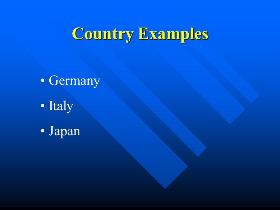 Country Examples Germany Italy Japan