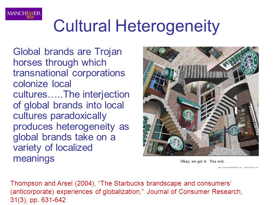 Cultural Heterogeneity Global brands are Trojan horses through which transnational corporations colonize local cultures…..The interjection of global b
