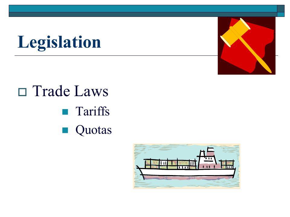 Legislation  Trade Laws Tariffs Quotas