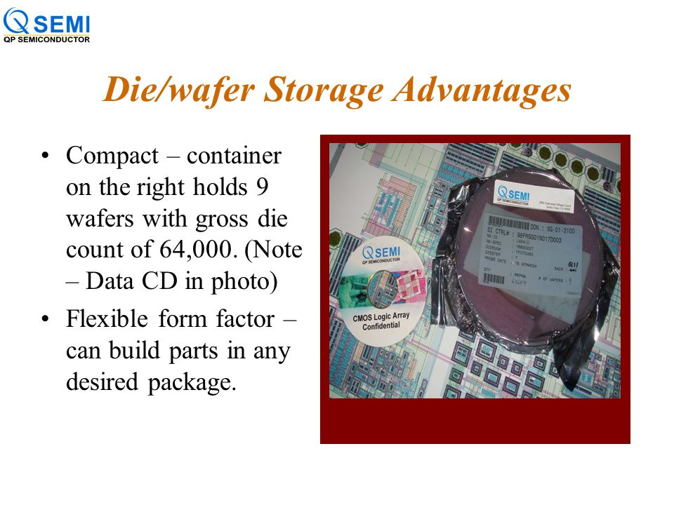 "Die/wafer Storage a.k.a ""Die Banking"" Successful storage methodologies include special bagging, environmental controls and periodic monitoring. –Requi"