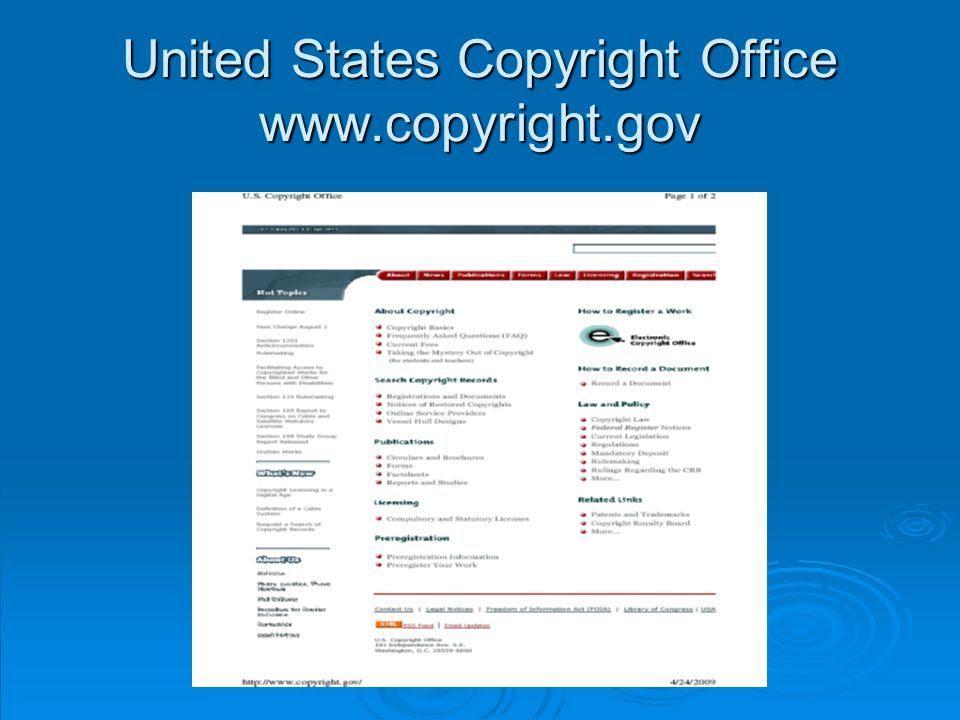 United States Copyright Office www.copyright.gov