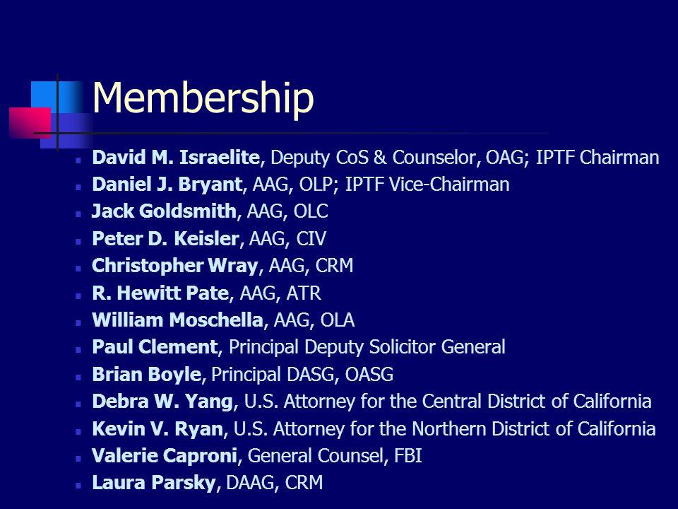 Membership David M. Israelite, Deputy CoS & Counselor, OAG; IPTF Chairman Daniel J.
