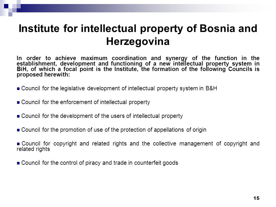 15 Institute for intellectual property of Bosnia and Herzegovina In order to achieve maximum coordination and synergy of the function in the establishment, development and functioning of a new intellectual property system in BiH, of which a focal point is the Institute, the formation of the following Councils is proposed herewith: Council for the legislative development of intellectual property system in B&H Council for the enforcement of intellectual property Council for the development of the users of intellectual property Council for the promotion of use of the protection of appellations of origin Council for copyright and related rights and the collective management of copyright and related rights Council for the control of piracy and trade in counterfeit goods