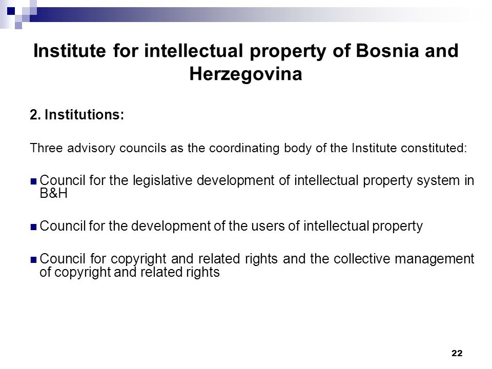 22 Institute for intellectual property of Bosnia and Herzegovina 2.